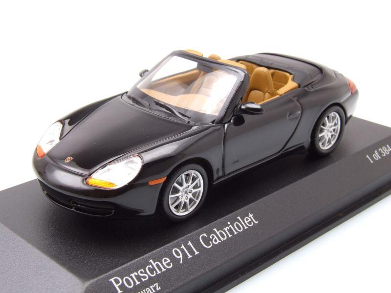 porsche 911 996 cabrio 1998 schwarz metallic modellauto 1 43 minichamps 53 95. Black Bedroom Furniture Sets. Home Design Ideas