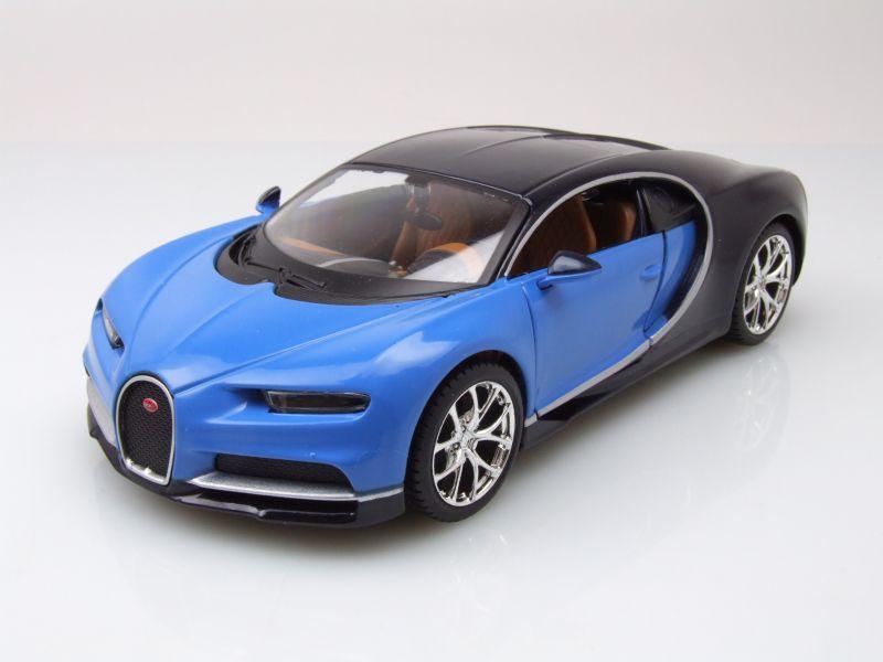 bugatti chiron 2016 blau dunkelblau modellauto 1 24 maisto 19 95. Black Bedroom Furniture Sets. Home Design Ideas