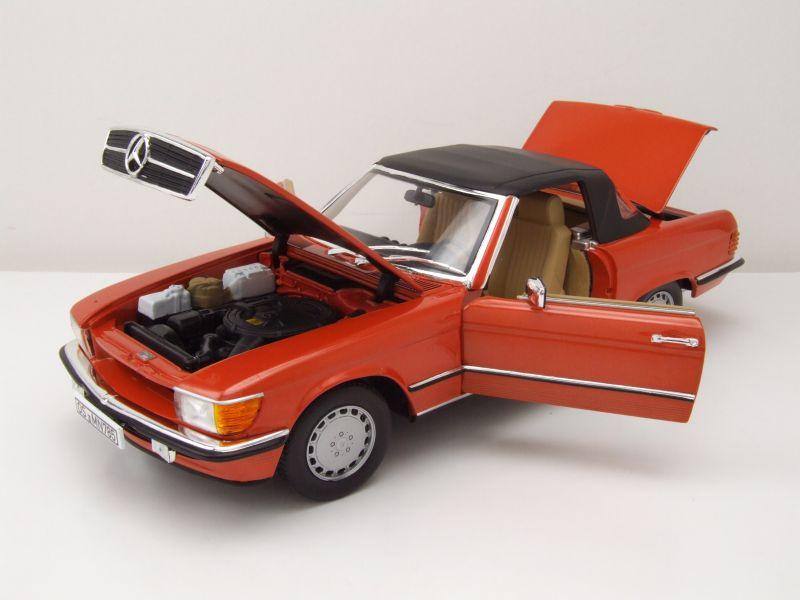 R107 1986 inka rot Mercedes 300 SL Cabrio Modellauto 1:18 // Norev