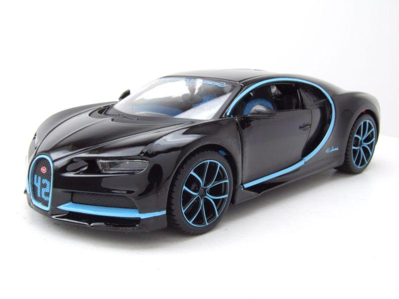 bugatti chiron 2016 schwarz hellblau modellauto 1 24 maisto 19 95. Black Bedroom Furniture Sets. Home Design Ideas