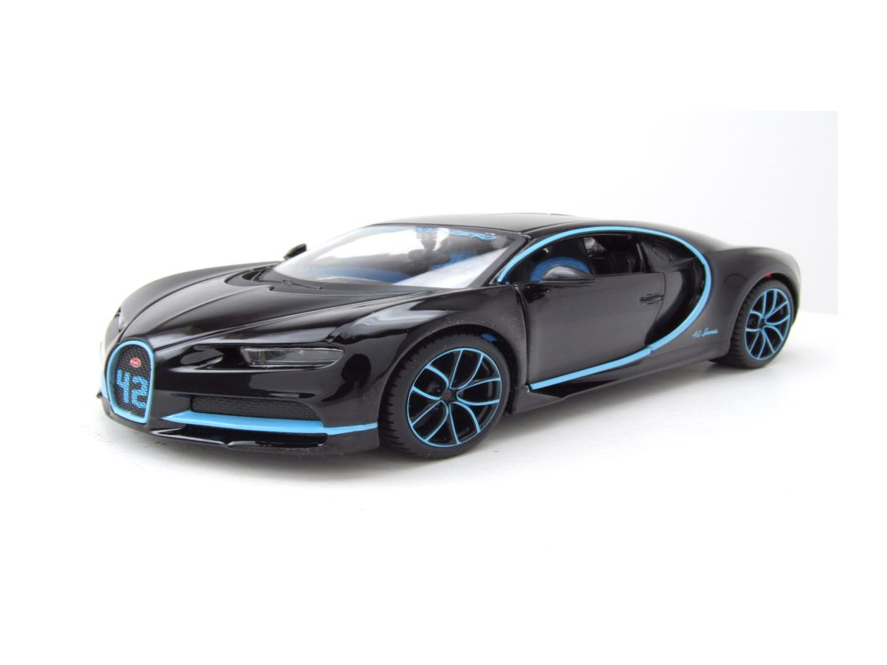 bugatti chiron 2016 schwarz hellblau modellauto 1 24. Black Bedroom Furniture Sets. Home Design Ideas