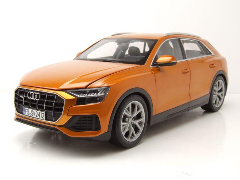 modellautocenter audi q8 2018 orange metallic modellauto 1 18 norev 89 95. Black Bedroom Furniture Sets. Home Design Ideas