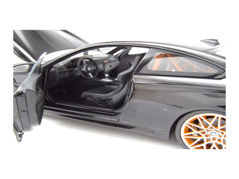 BMW M4 GTS 2016 schwarz mit orangenen Felgen Modellauto 1:18 Minichamps