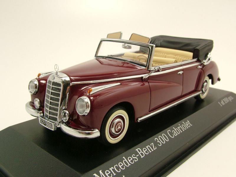 mercedes 300 cabrio w186 1952 dunkelrot modellauto 1 43. Black Bedroom Furniture Sets. Home Design Ideas
