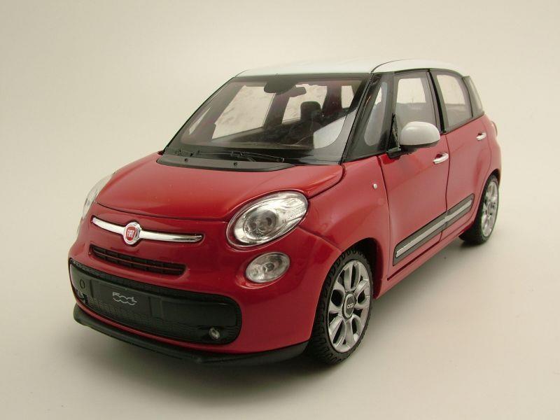 fiat 500 l 2013 rot wei modellauto 1 24 welly modellautocenter modellauto onlineshop f r. Black Bedroom Furniture Sets. Home Design Ideas